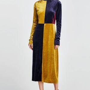 Zara velvet color block dress